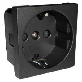 Розетка с з/к, со шторками глянцевая поверхность (черный бархат) LK45  | 851108| Экопласт