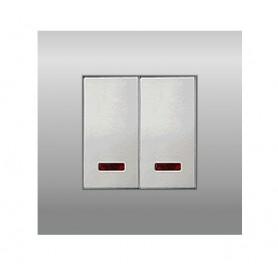 Выключатель с индикатором 45х22,5 мм (схема 1L) 16 A, 250 B (серебристый металлик) LK45  850303   Экопласт