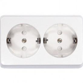 Розетка двойная открытой установки с заземляющими контактами и защитными шторками, (белый)