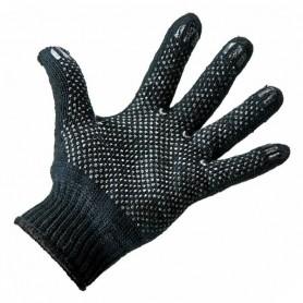 Перчатки полушерстяные с покрытием ПВХ (Зима) черные, 7 нитей, 75-77 гр.