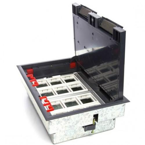 Люк для розеток в пол на 12 модулей (45х45мм) в комплекте с коробкой и суппортами