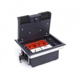 Люк для розеток в пол на 4 модуля (45х45 мм), с суппортом и коробкой 70140 стальной