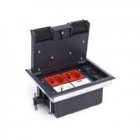 Люк для розеток в пол на 4 модуля (45х45 мм) Экопласт, с суппортом и коробкой 70040 стальной