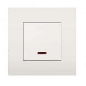 Выключатель с индикатором 45х45 мм (схема 1L) 16 A, 250 B (белый) LK45  850904   Экопласт