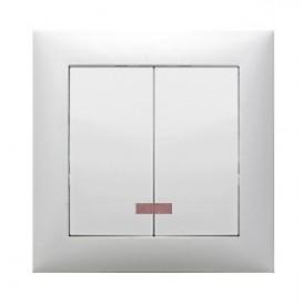 Выключатель 2-кл., с индикаторами (схема 5L) 16 A, 250 B (белый) LK60 | 861101 | Экопласт