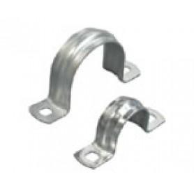 Скоба оцинкованная с двумя отверстиями, для трубы D20 мм, 1уп=10шт