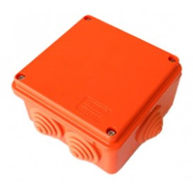 JBS100 Коробка огнестойкая E60-E90,о/п 100х100х55,без галогена, 6 вых., IP55, 6P, (1,5-6 мм2), цвет оранж