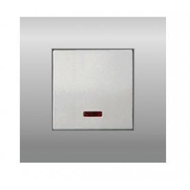 Выключатель с индикатором 45х45 мм (схема 1L) 16 A, 250 B (серебристый металлик) LK45 | 850903 | Экопласт