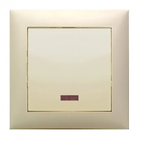 Выключатель 1-кл., c индикатором (схема 1L) 16 A, 250 B (бежевый) LK60 | 850901| Экопласт