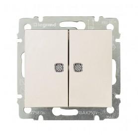 Valena Выключатель двухклавишный Крем с индикацией на каждую клавишу | 774113 | Legrand