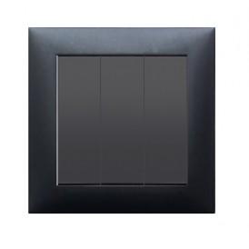 Выключатель 3-кл.  (схема 1+1+1) 16 A, 250 B (черный бархат) LK60