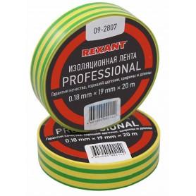 Изолента профессиональная 0.18 х 19 мм  х 20м желто-зеленая REXANT