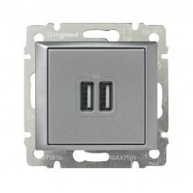 Зарядное устройство с 2-мя коннекторами USB - Valena - 1500 мА - алюминий | 770270 | Legrand