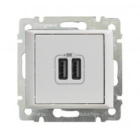Зарядное устройство с 2-мя коннекторами USB - Valena - 1500 мА - белый | 770470 | Legrand