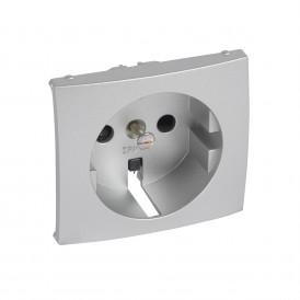 Лицевая панель - для розетки 2К+З с защитными шторками - немецкий стандарт - Valena - алюминий | 770257 | Legrand