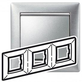 Рамка - Valena - 3 поста - алюминий матовый | 770333 | Legrand