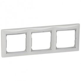Рамка - Valena - 3 поста - горизонтальный монтаж - белый/серебряный штрих   770493   Legrand