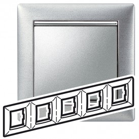 Рамка - Valena - 5 постов - алюминий матовый   770335   Legrand