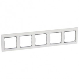 Рамка - Valena - 5 постов - горизонтальный монтаж - белый/серебряный штрих | 770495 | Legrand