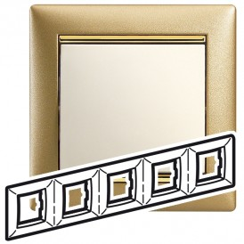 Рамка - Valena - 5 постов - матовое золото | 770305 | Legrand