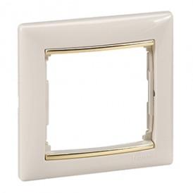 Рамка Valena 1 пост, слоновая кость/золотой штрих | 774151 | Legrand