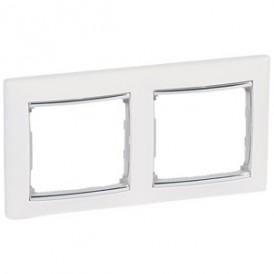 Рамка Valena 2 поста горизонтальная белый/серебряный штрих   770492   Legrand
