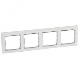 Рамка Valena 4 поста гор.,белый/серебрянный штрих | 770494 | Legrand