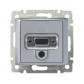 Розетка HD 15 + гнездо диам. 3,5 мм - Valena - алюминий | 770282 | Legrand