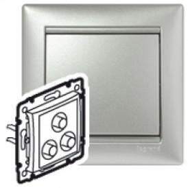 Тройная розетка RCA - Valena - алюминий | 770284 | Legrand