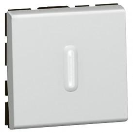 Выключатель кнопочный 2 модуля с подсветкой Legrand Mosaic 079242 алюминий