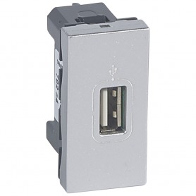 Mosaic розетка USB 1 модуль, алюминий | 079284 | Legrand