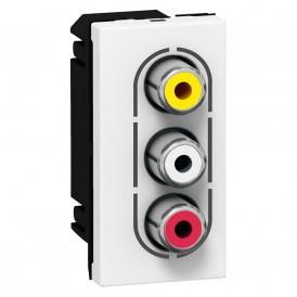 Розетка аудио стерео видео 3 RCA Legrand Mosaic 078754 белая
