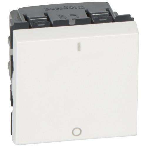 Выключатель двухполюсный 2 модуля Legrand Mosaic 077050 белый