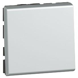 Выключатель кнопочный 2 модуля Legrand Mosaic 079240 алюминий
