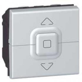 Кнопочный выключатель для управления приводами - Программа Mosaic - 2 модуля - алюминий | 079225 | Legrand