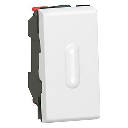 Выключатель кнопочный 1 модуль с подсветкой Legrand Mosaic  077032 белый