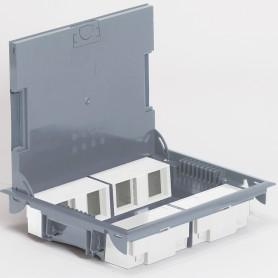 Коробка напольная серая 16 модулей вертикальная для H=65 мм /Крышка из Нерж. | 089625 | Legrand