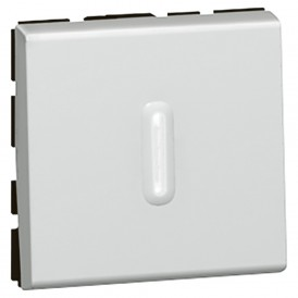 Переключатель 2 модуля с подсветкой Legrand Mosaic 079212 алюминий