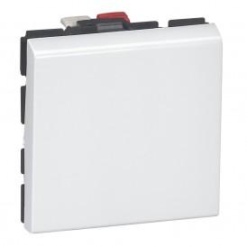 Переключатель 1-кл. 2 модуля Legrand Mosaic 077011 белый