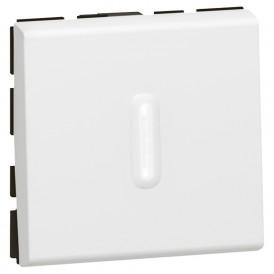 Переключатель 1-кл. 2 модуля с подсветкой Legrand Mosaic 077012 белый