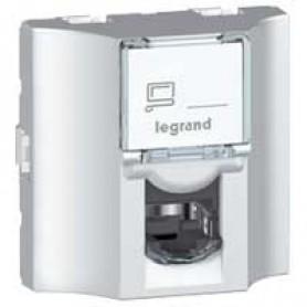 Проходная розетка - Программа Mosaic - категория 5е - FTP - 9 контактов - 2 модуля - алюминий - LCS² | 078625 | Legrand
