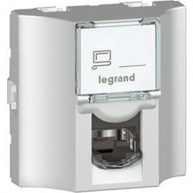 Розетка RJ45 оптоволоконная 5е UTP Legrand Mosaic 078624 алюминий