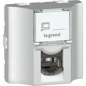 Проходная розетка - Программа Mosaic - категория 6 - UTP - 8 контактов - 2 модуля - алюминий - LCS² | 078626 | Legrand