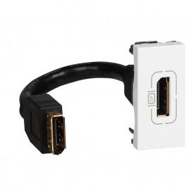 Розетка Display port 1 модуль со шнуром Legrand Mosaic 078791 белая