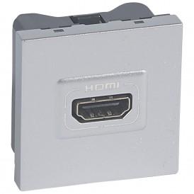 Розетка HDMI 2 модуля Legrand Mosaic 079275 алюминий