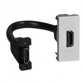 Розетка HDMI 1 модуль со шнуром Legrand Mosaic 079378 алюминий