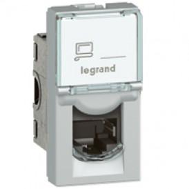 Розетка RJ45 FTP кат.6 1 модуль Legrand Mosaic 079462 алюминий