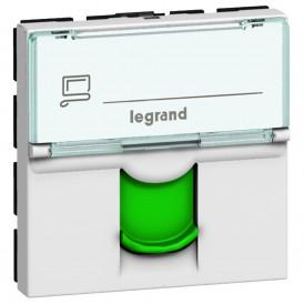 Розетка RJ45 FTP кат.6 с зеленой шторкой Legrand Mosaic 076522 белая