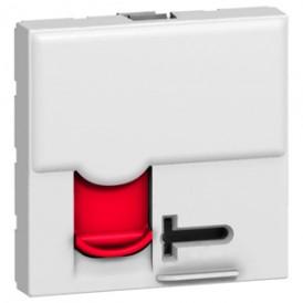 Розетка RJ45 FTP кат.6 с красной шторкой Legrand Mosaic 076595 белая