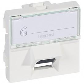 Розетка RJ45 FTP кат.6 2 модуля 45° Legrand Mosaic 076505 белая